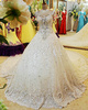 Ball Gown Sweetheart Chapel Train Lace Big Rhinestones Wedding Dresses With Jewelry Sleeves