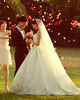 A-line Sweetheart Court Train Lace Beading Wedding Dresses