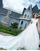 Princess Scoop Cap Sleeves Cathedral Train Lace Beading Wedding Dresses