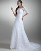 A-line Scalloped-edge Court Train Half Sleeve Lace Wedding Dresses With Beading