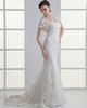 Mermaid Sweetheart Sweep Short Sleeve Crystal Lace Wedding Dresses With Jacket