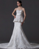 Mermaid Strapless Court Train Crystal Beading Lace Wedding Dresses
