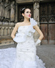 Mermaid One Shoulder Ruffle Cathedral Train Organza Sequin High Low Wedding Dresses