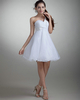 Girls In Very Short Dresses Pantyless A-line One Shoulder Short Organza Beading Sequin Wedding Dresses