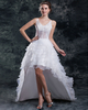 A-line V-neck Brush Train Organza High Low Beading Wedding Dresses