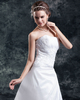 A-line Strapless Brush Train Organza Sequin Appliques Wedding Dresses