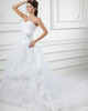 Over Hip Sweetheart Sweep Organza Crystal Ruffle Wedding Dresses