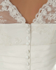 Over Hip Scalloped-edge Sweep Organza 3/4 Length Sleeve Beading Lace Wedding Dresses