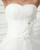 A-line Sweetheart Court Train Organza Flower Pick-Ups Wedding Dresses