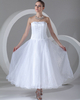 A-line Strapless Ankle-length Organza Draped Wedding Dresses