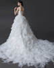 Princess One Shoulder Court Train Organza Beading Wedding Dresses