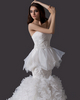 Mermaid Strapless Court Train Organza Beading Ruffle Wedding Dresses