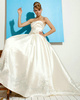 Ball Gown Sweetheart Ruched Sweep Train Satin Beading Flower Wedding Dresses