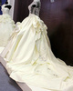 Royal Ball Gown High Neck Chapel Train Satin Crystal Wedding Dresses With Big Bowknot