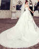 A-line Tube Top Cathedral Train Satin Sequin Wedding Dresses