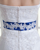 A-line Tube Top Sweep Satin Crystal Appliques Wedding Dresses