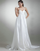 A-line Straps Brush Train Satin Draped Wedding Dresses