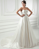 A-line Sweetheart Sweep Satin Crystal Beading Sequin Wedding Dresses