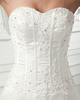 A-line Sweetheart Strapless Brush Train Satin Crystal Wedding Dresses