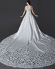 A-line Off-the-shoulder Chapel Train Satin Cut Flowers Wedding Dresses With Beading