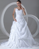 A-line One Shoulder Court Train Taffeta Pick-Ups Wedding Dresses With Beading