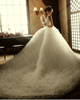 Ball Gown One Shoulder Court Train Tulle Appliques Ruffle Wedding Dresses
