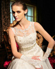 A-line Scalloped Edge Neckline Court Train Tulle Appliques Wedding Dresses With Rhinestone Ribbon