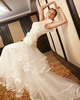 A-line One Shoulder Brush Train Tulle Bowknot Ruched Wedding Dresses With Ribbon On Skirt