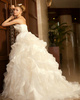 Ball Gown Scalloped Edge Chapel Train Tulle Beading Ribbon Ruffle Wedding Dresses
