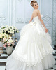 Ball Gown Scalloped Edge Sweep Train Tulle Rhinestone Tiered Wedding Dresses With Cut Flowers