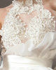 Princess High Neck Sweep Train Tulle Flowers And Rhinestones Semi Transparent Top Tiered Backless Wedding Dresses