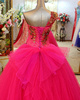 Ball Gown Three-dimensional Flowers One Shoulder Brush Train Tulle Sequin Wedding Dresses With Bowknot