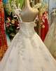 A-line Flower One Shoulder Peacock Feather Shape Crystals And Rhinestones Cathedral Train Tulle Sequin Wedding Dresses