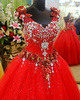Ball Gown Straps Crystals And Rhinestones Bodice Floor-length Tulle Sequin Red Wedding Dresses With Flower Waist Band