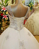 Ball Gown V-neck Floor-length Tulle Lace Wedding Dresses With Crystals And Rhinestones