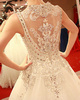 Ball Gown Sweetheart Cathedral Train Tulle Semi Transparent Jewelry Back Wedding Dresses With Crystals And Rhinestones