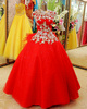 Ball Gown Round Brought Floor-length Tulle Crystal Red Wedding Dresses With Bowknot