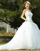 Over Hip One Shoulder With Flowers Court Train Tulle Crystal Wedding Dresses