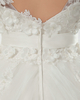A-line V-neck Court Train Tulle Cap Sleeves Flower Wedding Dresses With Bowknot