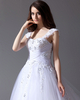 A-line Straps Chapel Train Tulle Beading Crystal Wedding Dresses