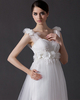A-line Straps Court Train Tulle Beading Flower Wedding Dresses