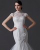 Mermaid Round Brought Brush Train Tulle Cap Sleeves Wedding Dresses With Beading
