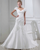 Mermaid V-neck Sweep Organza Flower Bubble Sleeve Wedding Dresses With Bowknot