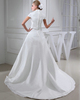Over Hip Stand Collar Sweep Organza Short Sleeve Wedding Dresses With Appliques