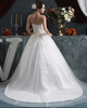 A-line Strapless Brush Train Tulle Appliques Wedding Dresses