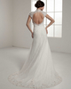 A-line High Neck Brush Train Short Sleeve Open Back Lace Wedding Dresses With Sequin