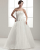 A-line Strapless Floor-length Organza Beading Sequin Wedding Dresses