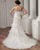 A-line Scalloped-edge Brush Train Beading Sequin Lace Wedding Dresses