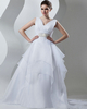 A-line V-neck Brush Train Organza Crystal Beading Wedding Dresses