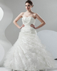 Over Hip Strapless Floor-length Satin Side-draped Wedding Dresses With Beading